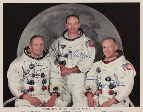 Fotografia echipajului misiunii Apollo 11, cu astronauții americani