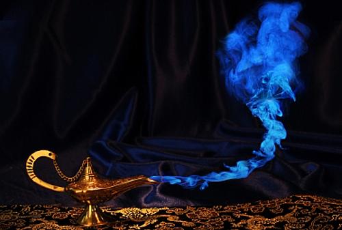 magic Aladdin genie lamp with blue smoke, but no genie face