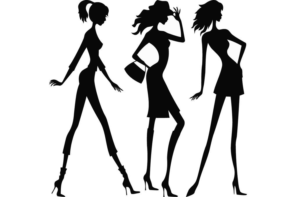 Three-Women-Silhouettes-Vector-Image